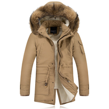 2016 New Long Thick Warm Mens Winter Parka With Fur Hood Slim Fit Faux Lambswool Liner Mens Jackets And Coats Winter