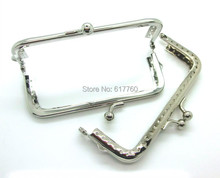 "Free Shipping-2PCs Silver Tone Bead Purse Bag Metal Frame Kiss Clasp Lock Handle 10.5x6cm(4 1/8""x2 3/8"") J2604"