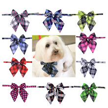 1pc Pet Dog Bowties Adjustable Plaid Patterns Bow ties Man Women Bow tie Neckties Pet Suppliers(China)