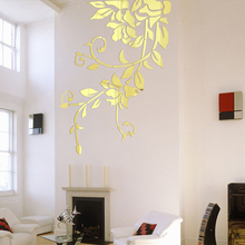 140*81cm DIY Acrylic Mirror Wall Stickers Home Decor Wall Decals Decoration Mirror Defoliation Flower Vine Stickers Mural