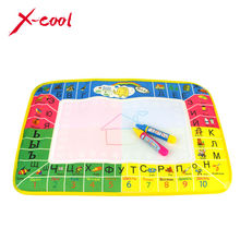 8875-2 45x29cm 4 colors Russian Language Water Drawing Mat with 2 pcs magic pen / Aquadoodle painting rug gift for kids