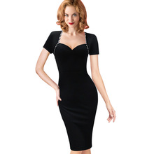 Vfemage Womens Elegant Sexy Vintage Retro Pinup Tunic Wear to Work Office Business Casual Party Pencil Sheath Bodycon Dress 2129(China)