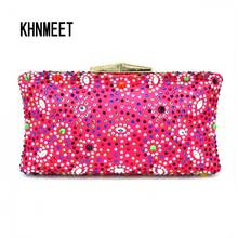 Fushia Crystal Evening Bag Colorful Diamond banquet pochette Purse Wedding Evening Clutch Bag Ladies Wallet Candy Bride Handbags(China)