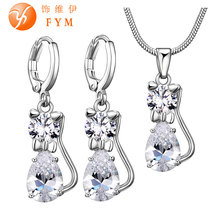 FYM Zircon Cat Jewelry Sets Clear Zircon Stone Jewelry Set Silver color Jewellery for Girls Love Gift JS0012