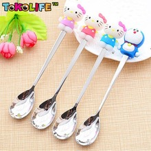 Lovely Cartoon Stainless Steel Baby Spoon Kids Tableware Baby Feeding Tools Ice Cream/Coffee Spoon Multicolor 1 Piece