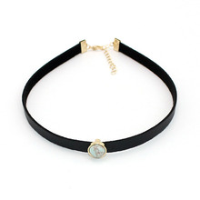 JShine New Arrival Personalized Trendy Black Leather Stone Choker Necklaces Women Lady Bijoux Jewelry Birthday Gifts Accessories