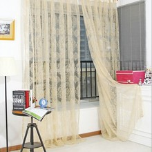 Thin Curtain Unique Bronzing Voile Door Window Curtain Balcony Valances Sheer Scarfs Hot