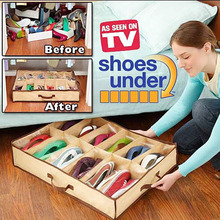 Hot sales Portable Creative 12 Pairs Fabric Storage Organizer Holder Shoes Box Dust and moisture Folding Box Container Case