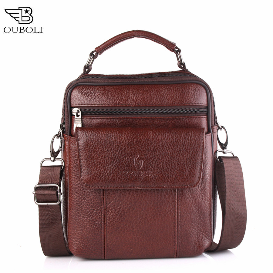 OUBOLI Business Men Genuine Leather Bag Natural Cowskin Men Messenger Bags Vintage Mens Cowhide Shoulder Crossbody Bag 8013#<br><br>Aliexpress