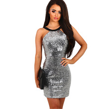 Womens Sequins Halter Backless Short Dress Silver Paillette Bodycon Slim Sexy Clubwear Party Mini Dresses(China)