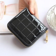 Patent Leather Women Short Wallets Ladies Small Plaid Wallet Zipper Coin Purse Female Credit Card Wallet Purses Money Bag 30
