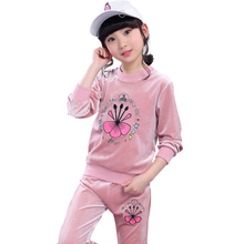 Gulugulumi 2017 Brand Girls Print Sport Clothes Set For Autumn Spring Long Sleeve+Pants Kid School Perform Velvet Clothes Set(China)
