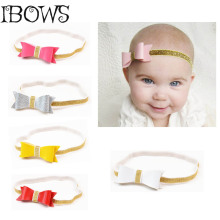 Baby Toddler Hairbands Kids Leather Bows Headband With Elastic Children Boutique Tiara Hair Accessories For Girl