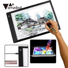 AMZDEAL For A4DC LED Thin Stencil Tattoo Drawing Display Board Tablet Tracing Drawing Light Box Table Pad 3 Gear Dimming