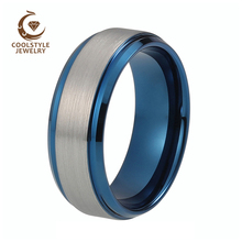 8mm fashion men and women blue tungsten wedding band engagement ring with brushed and beveled edges(China)