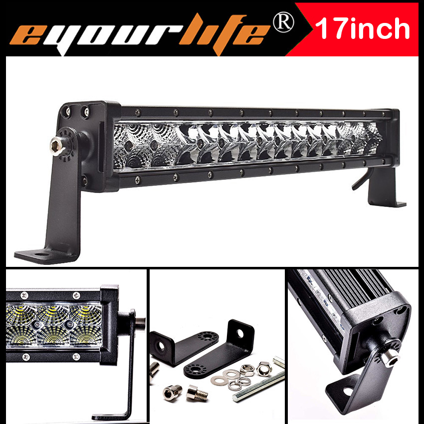 Eyourlife 15/17INCH 75W SPOT FLOOD COMBO WORK Driving LED light bar lamp offroad 12V 24V Waterproof<br>