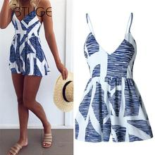 BTLIGE Women Rompers Print Jumpsuit Summer Short Pleated Overalls Female Deep V-neckSexy Straps Playsuit Beach Jumpsuit NS1146