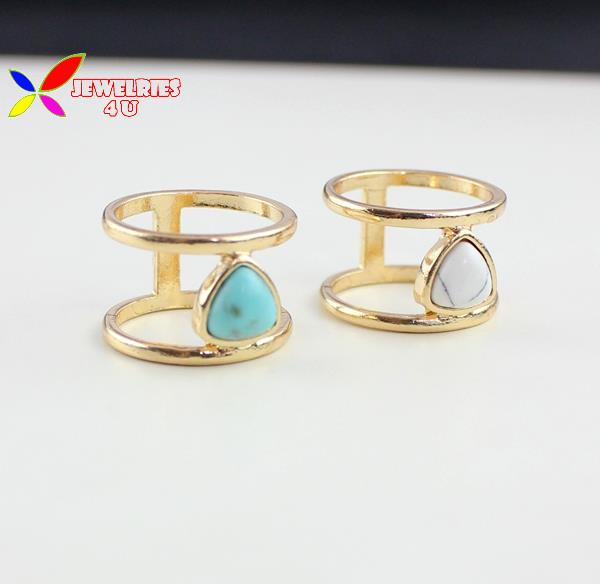 2015 christmas gift fashion designer simplicity golden alloy nature white blue tuquoise finger ring for women bagues pour femmes(China (Mainland))