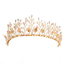 Floristic Crystal Pearl Wedding Tiara Crown Rhinestone headbands Hair Jewelry Bridal Hair Accessories Gold Head Piece Hairbands(China)
