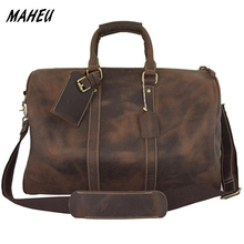 "Men Crazy Horse leather travel bag 18"" real leather Weekend Bag 24"" Genuine Leather Travel Luggage Tote overnight Duffle Brown(China)"