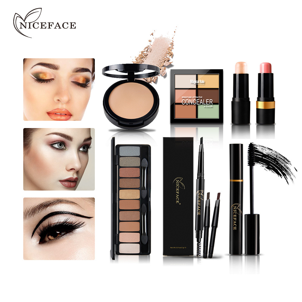Christmas Gift Nice Face Brand Makeup Kit Eyebrow Pencil &amp; Eyeshadow Palette &amp; Contour Palette Ect 7 In One Makeup Set With Card<br>