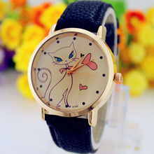2017 Fashion Cat Printed Women Watch Faux Leather Strap Analog Quartz Wrist Watch Animal Watches Relogio Feminino New Gift