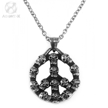 AgentX Punk Skull + Peace Logo Sign Men's Stainless Steel Metal Round Pendant Necklace Long Chain Jewelry +Gift Package / AAP060