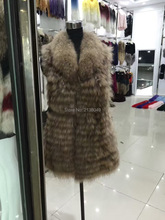 SF0155 Long Style Real Fur Animal Natural Fur Vest Raccoon Fur Collar()