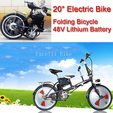 "Excelli 20"" Electric Bike Folding Bicycle 48V Lithium Battery 3 Seats Mother Baby Bikes Travel Bicicleta Plegable Black Orange"