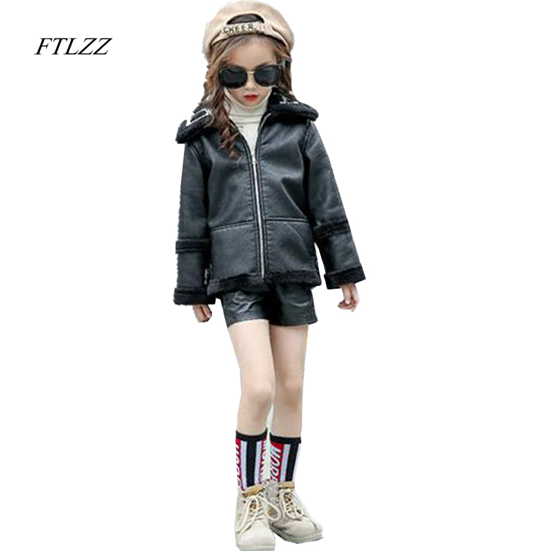 1-12Y Baby Girl Pu Leather Jackets Coats Autumn Spring Fashion Fur Collar Boys Jacket Thicken Outerwear Black Faux Leather Parka<br>