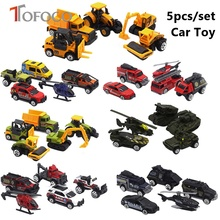 TOFOCO New 11cm 5pcs Car Toys For Boys Children Pull Back Train Cars Toy Set Educational Toy Plastic Metal Fire Truck Vehicl(China)