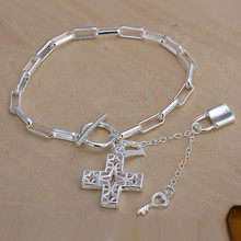 H170 factory price lock Silver Cross Pendant Bracelet Fashion jewelry party gift classic good quality free shipping(China)