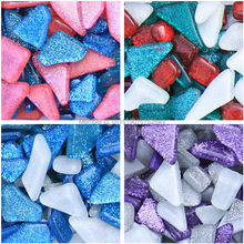 Mixed Color Irregular Mosaic tiles 200g DIY Craft Material Flowerpot Lantern Wall Garden Decor Glass Marble Glitter Mosaic Beads(China)
