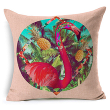 Cotton Linen Tropical Pink Flamingos Cushion Home Decor Colorful Decorative Throw Pillow For Sofa Chair Seat Pouf 45*45 cm d308