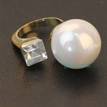 New Free Size White Simulated Pearl Rings Bling Bling Girl's Ring Fashion Jewelry For Gift AJD-098