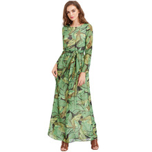 YJSFG HOUSE Fashion Women Long Sleeve Summer Boho Beach Dresses Leaves Print Evening Party Dress Ladies Vintage Long Maxi Dress