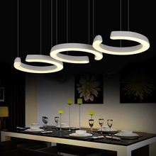 3 heads dining room table off head pendant light, Personality C type kitchen restaurant led pendant lamp,hanging light(China)