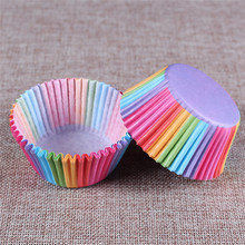 Wholesale 100 Pcs Paper Cake Baking Cups Rainbow Color Cupcake Baking Egg Tarts Tray Kitchen Accessories Pastry Decorating Tools