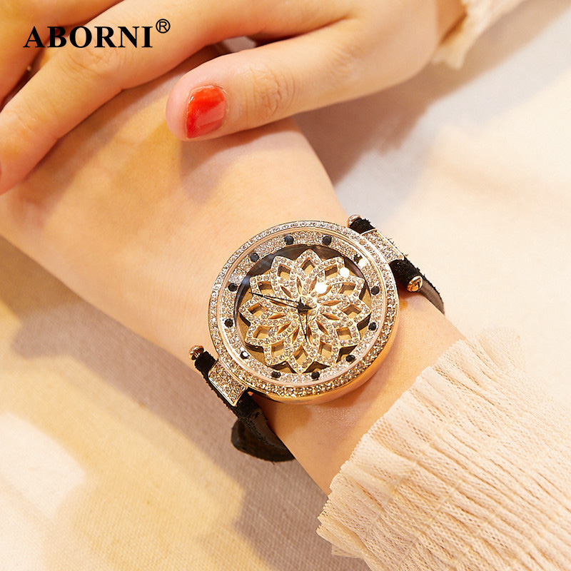 2018 ABORNI Lucky Flower Women Watches Lady Shining 360 Rotation Dress Watch Womens Big Diamond Wristwatch Girl Clock For Gift<br>