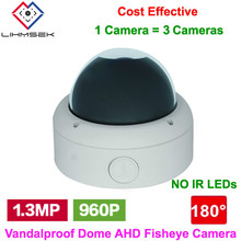 Lihmsek Vandalprood Dome 1.3 Megapixel AHD Camera with 180 Degree Fisheye Lens 960P AHD Fisheye Camcorder Surveillance Equipment(China)