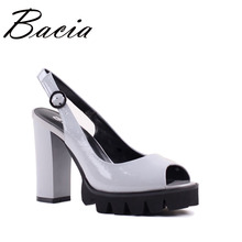 Bacia Full Grain Leather Sandals 10.9cm Thick High Heels Fashion Platform Spring Summer Shoes Size 33-41 Pink Grey shoes SA022