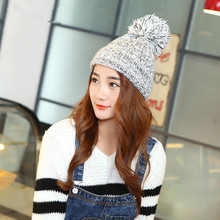 Fashion Korean Autumn And Winter Lady Hats Newest Knitting Ball Wool Cap Hat Casual Outdoor Sport Cap For Women Warm Beanies