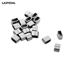 LASPERAL 20pcs Silver Color Stainless Steel Clasps Smooth Flat Leather Rope Connector Clasps For Charms Necklace Jewelry 9mmx6mm