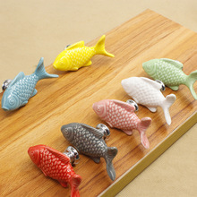 FGHGF Grass Carp Ceramic Door Knob Children Room Furniture Handle Accessories Cabinet Drawer Cupboard Pulls Kitchen Handles(China)