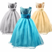 Flower Girls Formal Dress Princess Wedding Party Kids Costume Children Clothing Ball Gown Bridesmaid full Sequined Sleeveless(China)