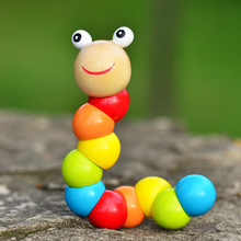 2017 Kids Cute Insert Puzzle Educational Wooden Toys Baby Children Fingers Flexible Training Science Twisting Worm Toy