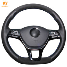 MEWANT For Volkswagen VW Golf 7 Mk7 New Polo Jetta Passat B8 Tiguan Black Suede and Leather Car Steering Wheel Covers(China)