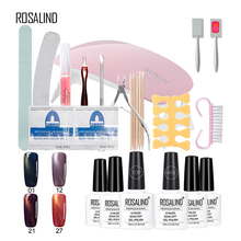 Rosalind 10ML* 4PCS Cat Eye Gel Nail Polish Optiona+Base Top Coat+10PCS Set For Manicure Acrylic Nail Kit Set Of Nail Files(China)