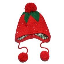 4 Colors Kids Girls Hat Baby Knitting Crochet Hat Strawberry Pattern Knitted Cap 1-6 Years