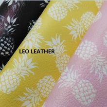 1PC A4 SIZE Printed PINEAPPLE Leather Fabric  PU Eco Leather with  Faux Leather Fabric Synthetic Leather Fabric SK41